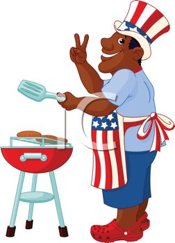 Cartoon of an African American Dad Grilling on the 4th of July