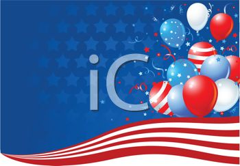 Patriotic Balloons Background for the 4th of July