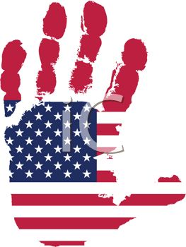 Patriotic Handprint with the American Flag Embossed Into It