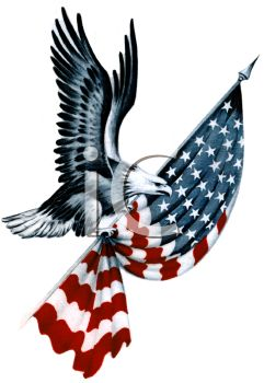 American Eagle Carrying a Folded Flag