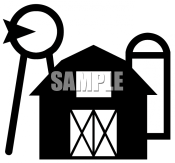 Black and White Farm Icon