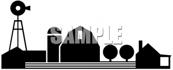 Royalty Free Clip Art Image: Black and White Silhouette of a Rural ...