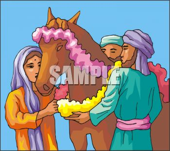 Arabian Family Decorating Their Horse