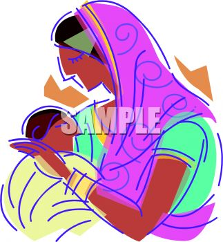 Middle Eastern Mother and Baby - Royalty Free Clipart Picture