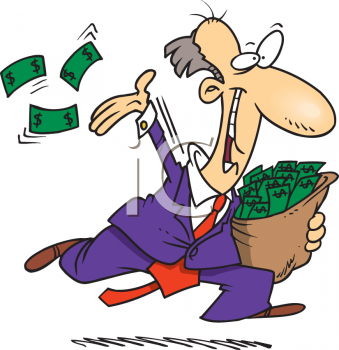 Crazy Cartoon of a Man Throwing His Money Away Cliche