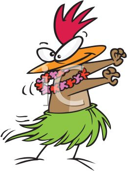 Hula Chicken Wearing a Grass Skirt