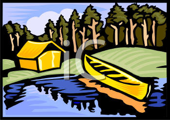 Cabin and Canoe by a Lake in the Woods