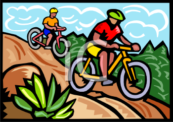 People Riding Mountain Bikes Down a Hill