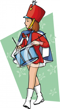 Girl Drummer in a Marching