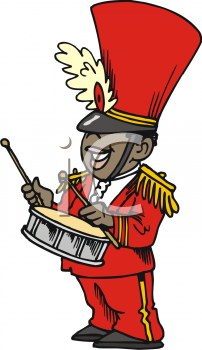 African American Guy Playing the Drum in a Marching Band