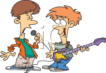 Cartoon of the Teen Singer and Guitar Player in a Garage Band