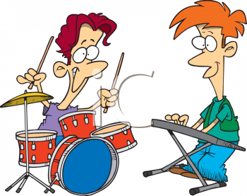 cartoon of the teen drummer and keyboard player in a garage band rh clipartguide com band clipart free band clipart png