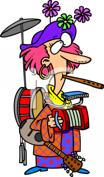One Woman Band Cartoon of a Woman Playing a Bunch of Instruments