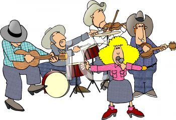 cartoon of a cowboy band with a female country singer royalty free rh clipartguide com