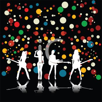 Girl Band Silhouette on a Festive Background
