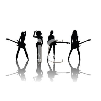 Silhouette of a Sexy All Girl Band