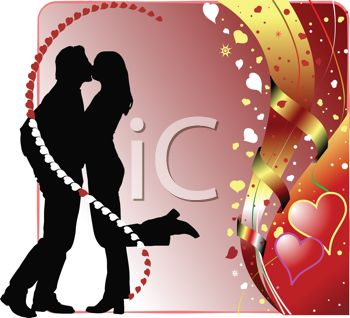 Silhouette of a Kissing Couple with Hearts and Ribbons