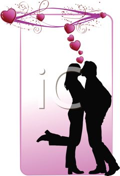 Silhouette of a Couple Kissing with Hearts