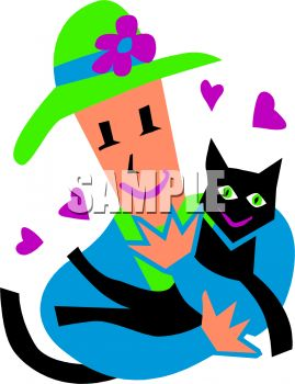 Cartoon of a Woman Holding Her Beloved Cat