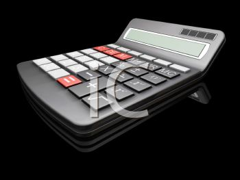 3D Calculator on a Black  Background