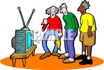 Old Men Watching Tv At A Nursing Home Royalty Free Clip Art Illustration