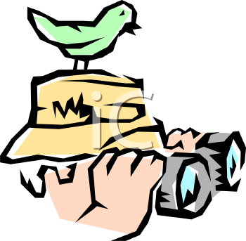 Bird Watcher with Binoculars and a Bird Perched on His Head