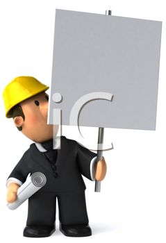 3D Contractor Holding a Blank Sign