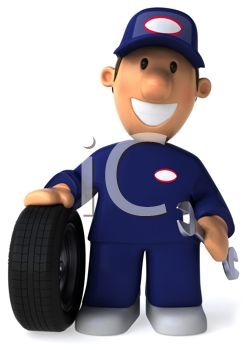 3D Auto Mechanic with a Tire