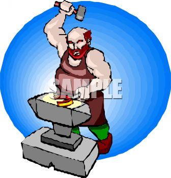 fat blacksmith farrier making a horseshoe royalty free clip art rh clipartguide com colonial blacksmith clipart blacksmith hammer clipart