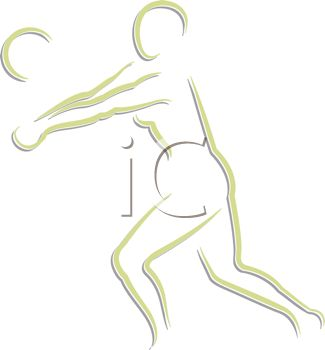 Outline of a Figure Playing Volleyball