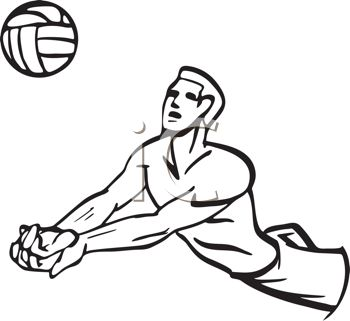 Black and White Cartoon of a Volleyball Player Doing a Bump Pass
