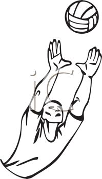 Black and White Cartoon of a Volleyball Player Reaching for the Ball