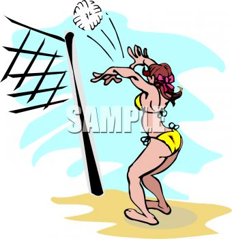 Cartoon of a Girl Playing Volleyball at the Beach