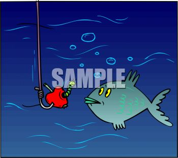 Fishing cartoon of worm on hook, a nightcrawler, talking to fish