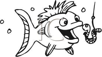 Cartoon fish about to eat a worm on a hook - fishing