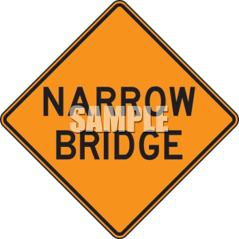 Orange Road Sign for Narrow Bridge