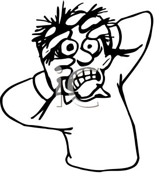 Black and White Cartoon of a Crazed Man with His Hands on His Head