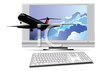 Passenger Jet Flying Out of a Computer Monitor Depicting Travel