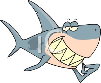 Cartoon of a Shark Picking His Teeth with a Toothpick