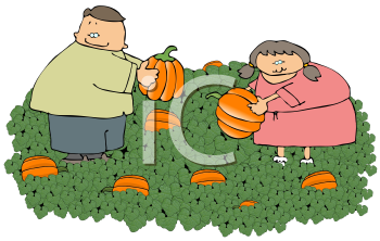 Kids Picking Pumpkins for Halloween Jack O Lanterns