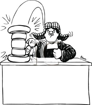Black and White Cartoon of an Angry Judge Banging His Gavel