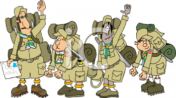 Cartoon of a Scout Troop on a Hike