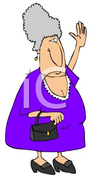 Cartoon of a Gray Haired Granny Waving
