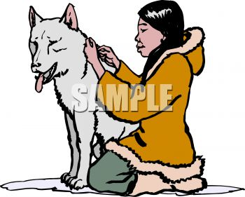 Little Eskimo Girl Taking Care of Her Pet Wolf