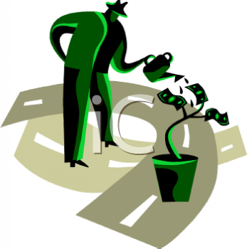 Cartoon Of A Man Watering A Money Tree