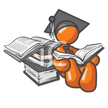 Orange Man Character Reading Reference Books Wearing a Graduation Cap