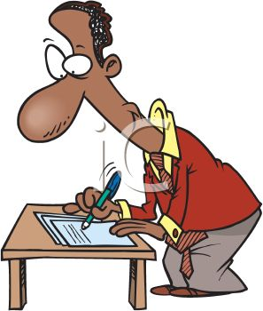 Cartoon Of An African American Man Writing Up A Contract