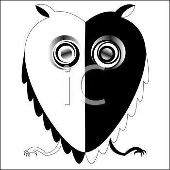 "This ""abstract black and white owl in the shape of a heart"" clipart image"