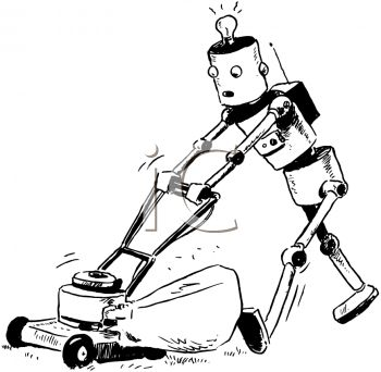 Vintage Cartoon of a Robot Mowing the Lawn