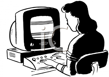Vintage Lady Working on an Ancient Computer